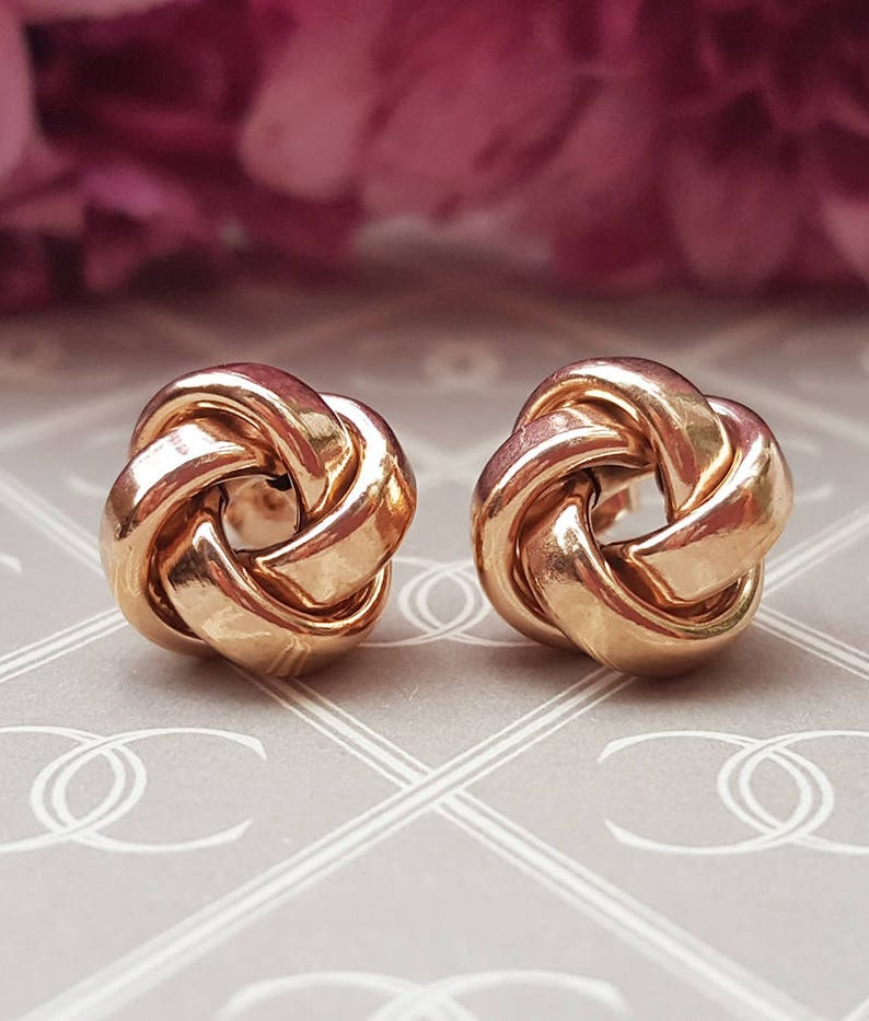 68f7bd245 Ladies Fine 9ct Rose Gold 1cm Knot Stud Earrings | Etsy