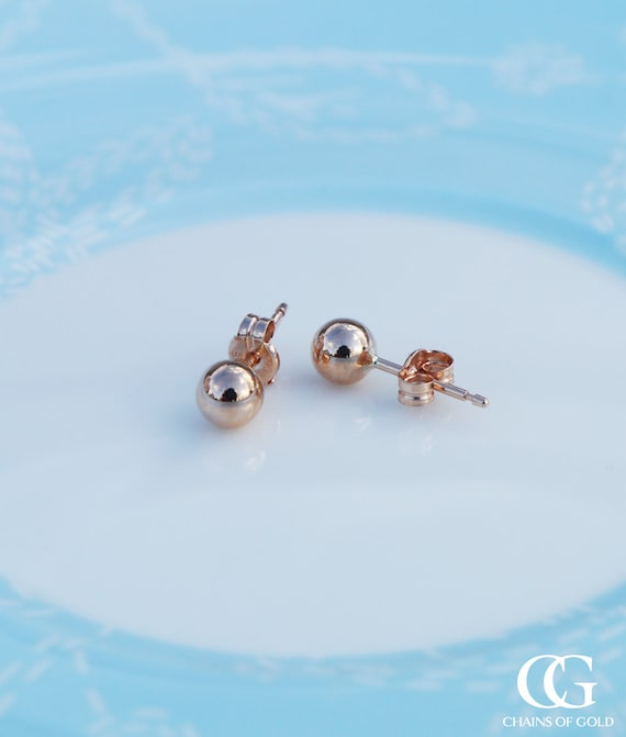 Hallmarked 9ct Rose Gold 4MM Ball Stud Earrings
