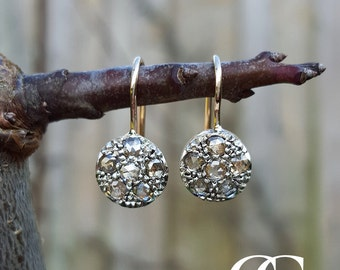 Delicate Edwardian Inspired 9ct Rose Gold & Diamond Earrings