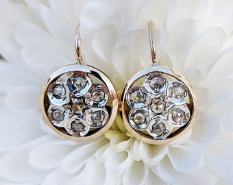 Edwardian Inspired 14ct Yellow Gold & Diamond Round Flower Earrings