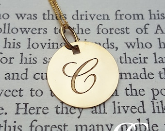 """Solid 9ct Yellow Gold Engraved Initial Disc Necklace 16"""" 18"""""""