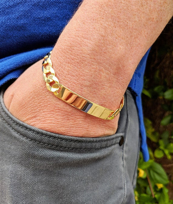 """Personalised Men's Solid Sterling Silver Curb Identity Bracelet 8.5"""""""