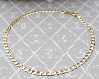 Ladies Delicate 9ct Yellow Gold Flat Curb Bracelet 7.5""
