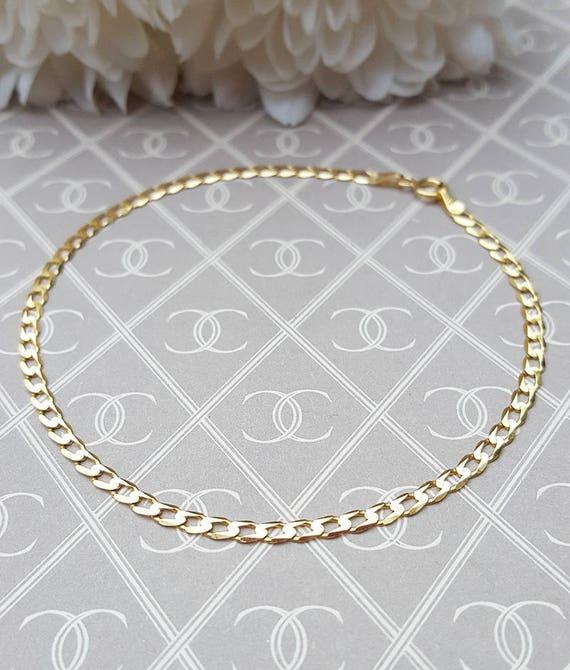 7.5 inch 9ct Yellow Gold Figure 8 Double Curb Chain Bracelet 19cm
