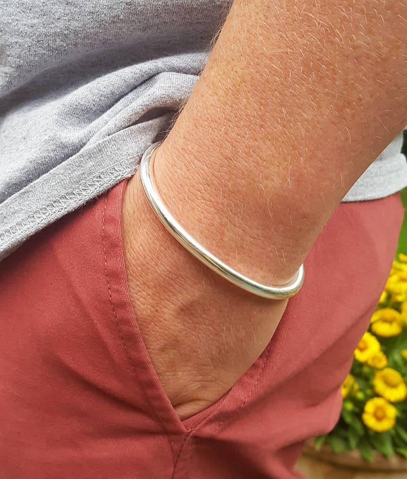 Men/'s Solid Sterling Silver Torque Bangle Bracelet Classic Men/'s Bangle Bracelet