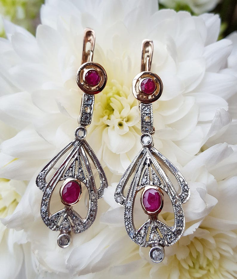 c1a8505f8 Art Deco Style 9ct Rose Gold Ruby & Diamond Drop Earrings | Etsy