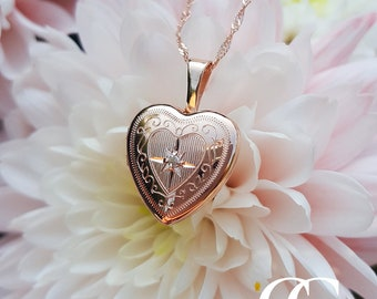Petite 9ct Rose Gold Engraved Heart Locket Necklace with a set Diamond