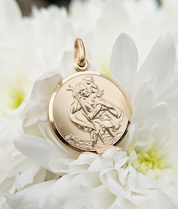9ct Oro Oval St Christopher Colgante y Cadena Collar en Caja De Regalo Hecho en Reino Unido