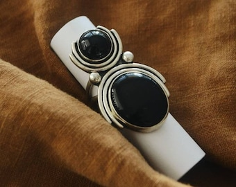 Arana Ring, Double Natural Onyx and Sterling Silver Statement Ring, Boho Southwestern Size 7.5