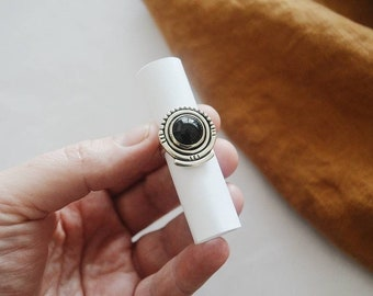 Multi Frame Ring, Natural Onyx and Sterling Silver Ring, Boho Southwestern