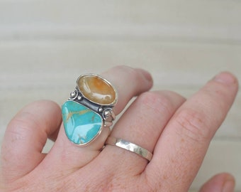 Peach Quartz and Royston Turquoise Double Stone Ring, Sterling Silver Double Band Statement Ring, Southwestern Boho
