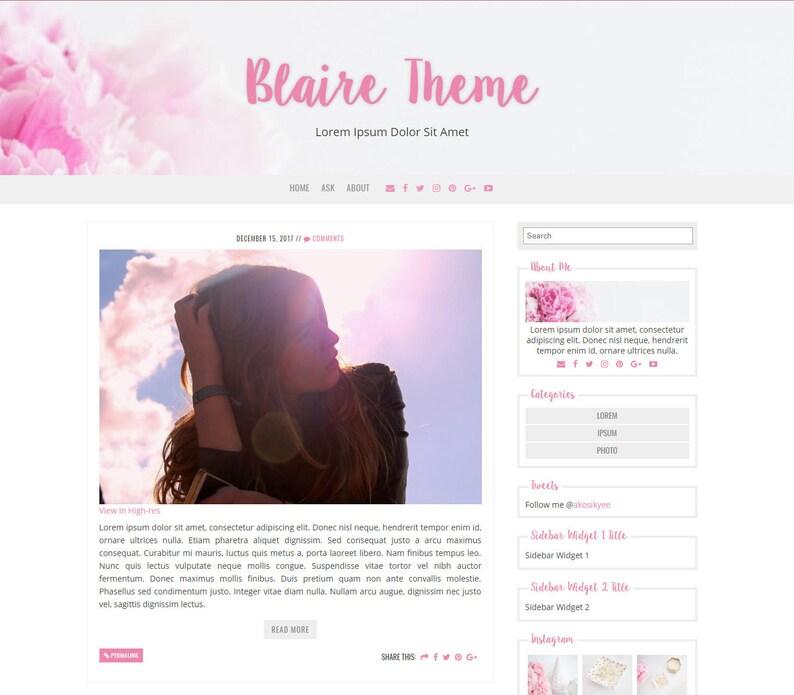 Blaire - Responsive Tumblr Theme - Premade Tumblr Theme