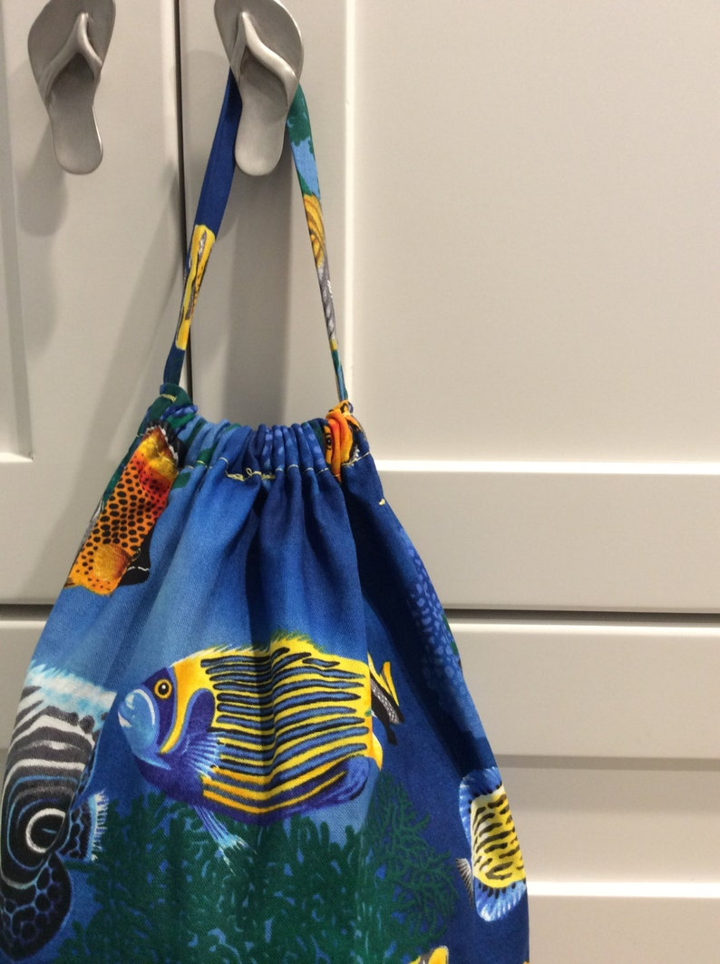 Plastic Bag Holder with Tropical Fish Fabric