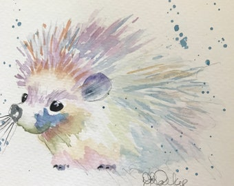 Hedgehog watercolor note cards