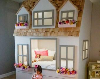 Etagenbett Für Puppenhaus : Layla puppenhaus hochbett spielplatz darunter optionen etsy