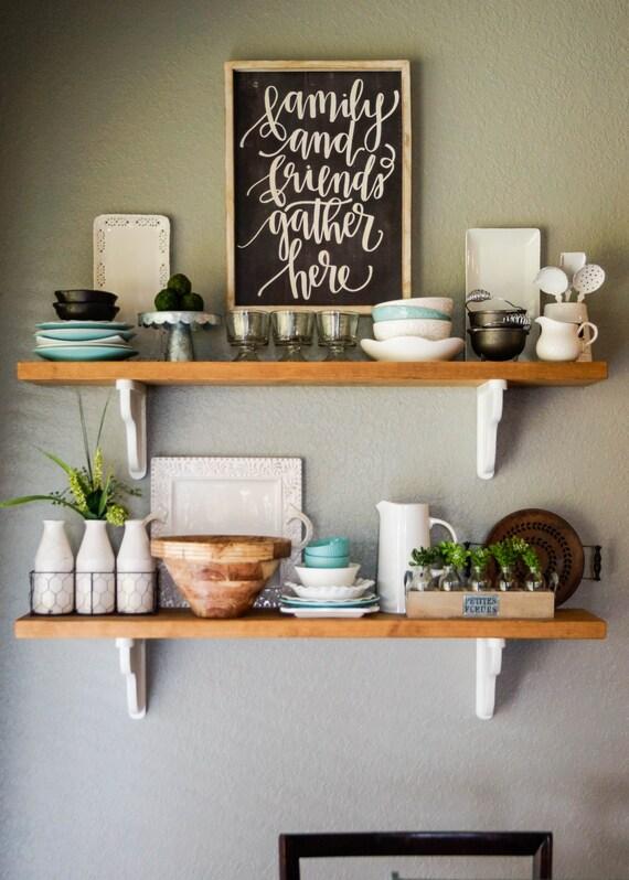 French Country Cottage Style Wood Shelves, kitchen shelves, open kitchen  shelves, white shelves, handcrafted shelves, custom shelving