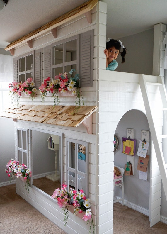 Laylas Loft Bed Custom Dollhouse Style Play Area Etsy