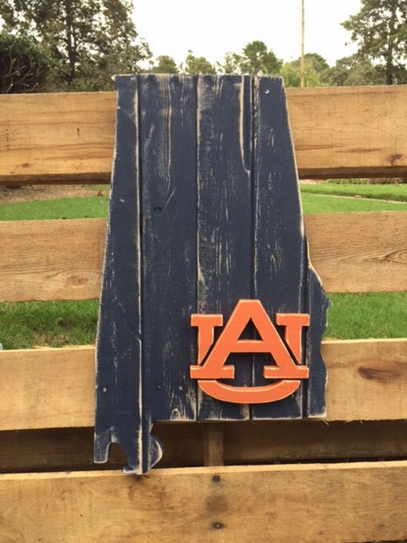State Of Alabama Wood Pallet Sign Auburn Blue With An Orange Au Logo In The Lower Right Corner War Eagle