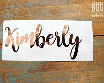 Name Decal - Rose Gold Decal - Rose Gold Chrome Decal - Vinyl Name decal - Yeti decal - RTIC decal - Gold Foil decal - Wedding decal