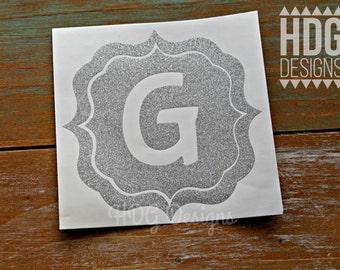 Glitter Decal - Monogram decal - Vinyl decal - Letter Decal - Initial decal - Yeti decal - RTIC decal - Car decal -  Glitter Monogram