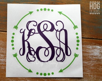 RTIC decal | RTIC cup decal |RTIC Monogram Decal | Arrow Monogram decal | Monogram Decal | Decal for Rtic Cup | Arrow decal | Monogram decal