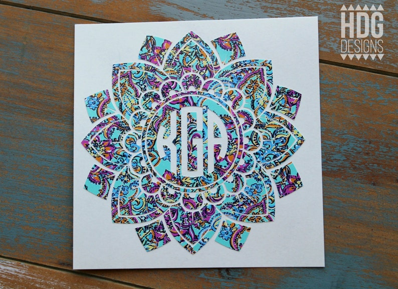 Flower Decal  Monogram Decal  Vinyl Decal  Mandala Decal  image 0