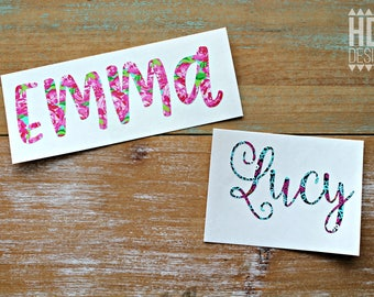 Name Decal - Lilly Name Decal - Patterned Name Decal - Yeti Decal - RTIC decal - Vinyl decal - Name monogram - Cup decal - Lilly Inspired