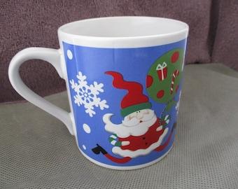 Santa Claus coffee mug ,Saint nick milk mug ,Blue Christmas coffee cup ,Santa tea cup