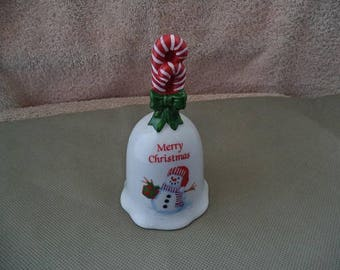Christmas bell , Hand bell with candy cane's ,Christmas bell with snowman ,Vintage Christmas bell ,Christmas ornament , Ornament