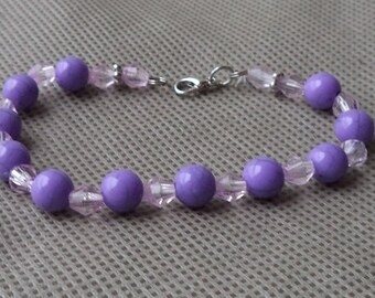 Bracelet , Beaded bracelet , Purlpe beaded bracelet , Gift under 10, Bracelet  for her , Mother's day gift , Stocking stuffer