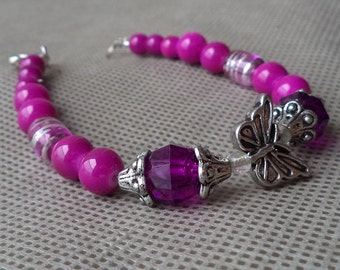 Bracelets for women, Dark Purple Bracelet , Butterfly bracelet , Beaded bracelet , gift under 10 , Mother's day gift , Gift for her