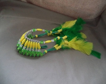 Car accessories for women ,Yellow and green car accessories , Beaded  headdress, Rear view mirror charm , Feather  car charm