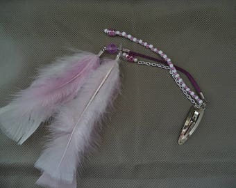Purple and white hair accessories, Hippy hair charm, Hair accessories with feathers ,Hair charm for girls ,Unique gift ,stocking stuffer