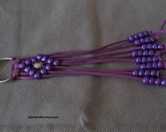 Braided Key chain ,February's birthstone gift,  Purse charm , Backpack accessories , Leather Key chain ,Beaded keychain , Purse accessories