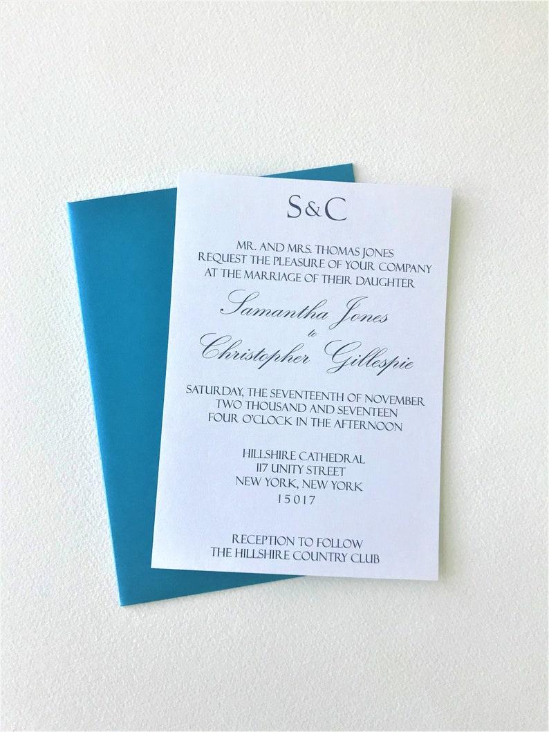 Monogram Wedding Invitation Tiffany Blue Sample