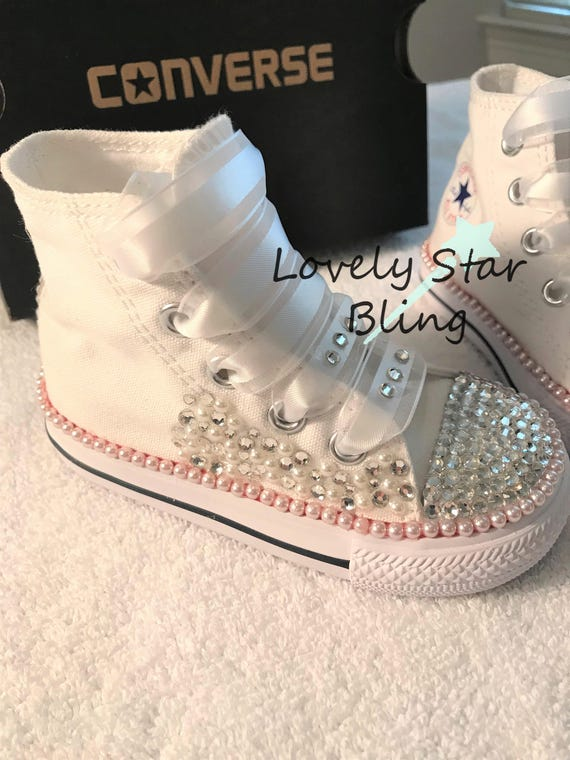 Pearls and Cyrstals on a Classic White Toddlers Converse  b9970b99ff