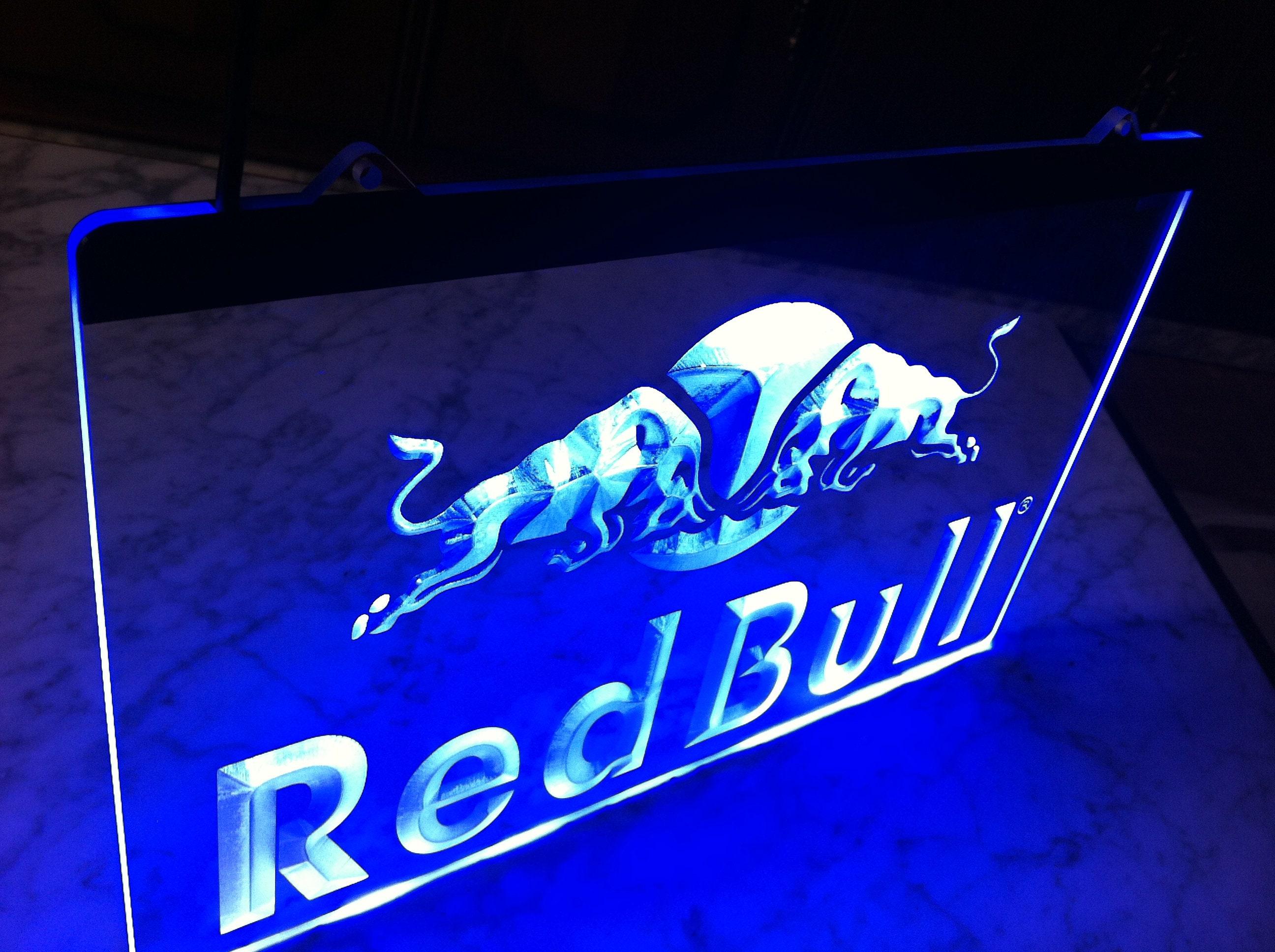 Neon A Accrocher Au Mur red bull logo led lamp sign box poster energy drink redbull