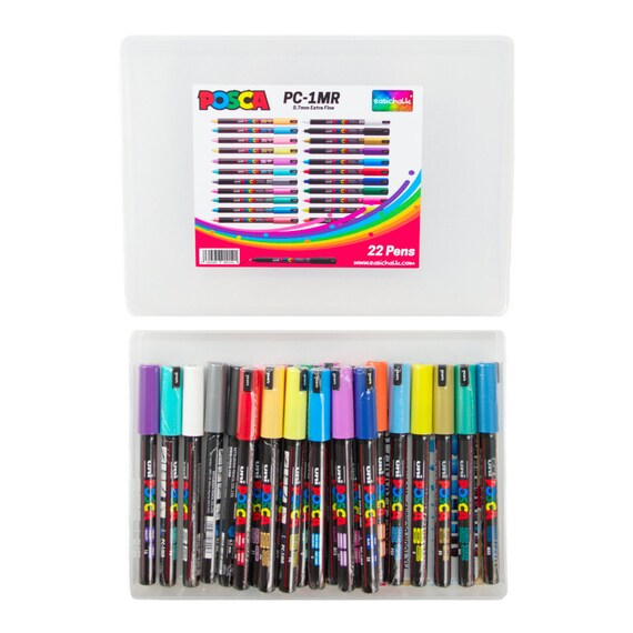 Uni Posca PC-1MR Black Paint Marker Pen Fabric Metal Glass Ultra Fine 0.7mm Nib
