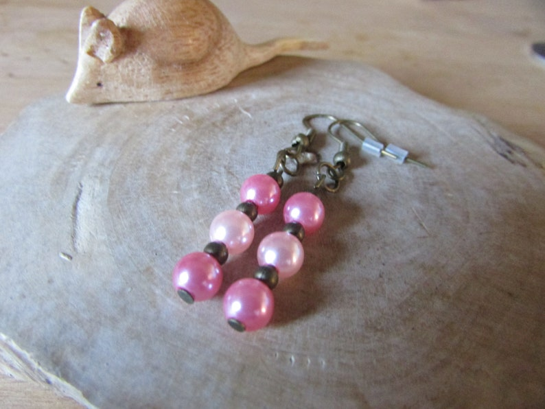 Pink and bronze earrings Bronze earrings Dangle earrings SALE Pink earrings Beaded earrings Hooked earrings Gifts for her