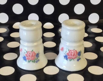 Tiny Taper~Set of 2~Pastel Pink Roses~Blue Flower~Yuricraft~Candle Holders~Tiny Taper Candle Holders~Vintage