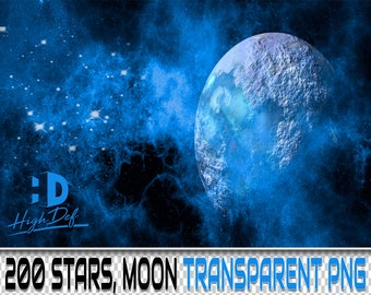 200 MOON PHOTOSHOP OVERLAYS Transparent Png Digital Texture | Etsy
