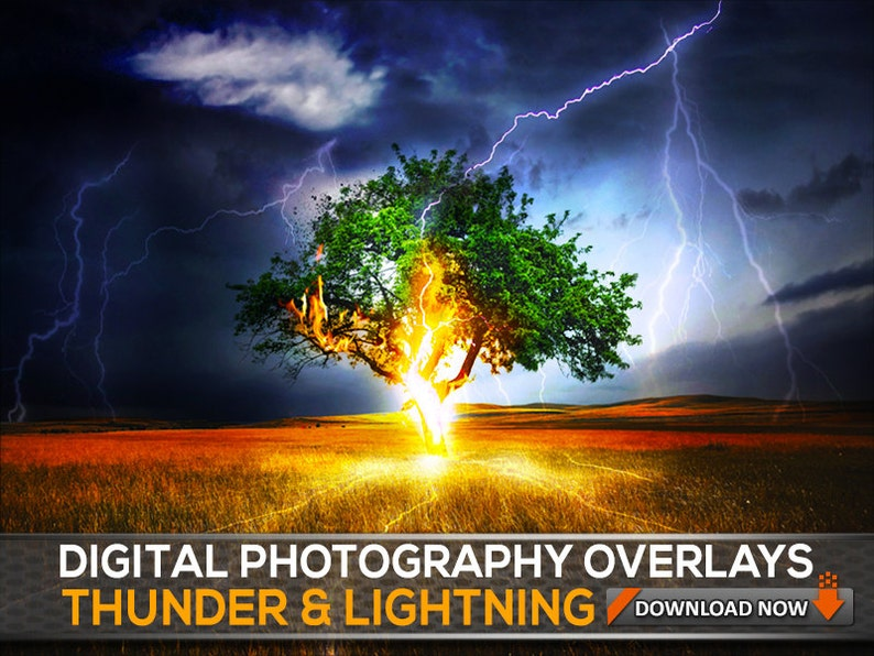 100 PNG & Jpg Thunder Lightning Photoshop Overlays - Storm Sky Overlays -  Lightnings - Digital Background, Digital Backdrop