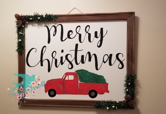 Old Truck With Christmas Tree Painting.Hand Painted Christmas Truck Revers Canvas Hand Painted Canvas Merry Christmas Christmas Tree Old Truck Painting Farm Truck Decor