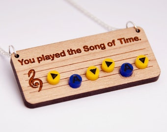 Legend of Zelda Song of Time necklace - Ocarina of Time - Nintendo 64 - Old school - Geek and cute