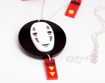 Spirited Away's No Face necklace, handpainted - Miyazaki, studio Ghibli, geek, cute, kawaii, japanese, Japan, lasercut, acrylic
