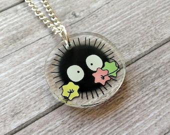 Soot sprite necklace from Spirited Away - Miyazaki, Ghibli studio, geek, cute, kawaii, japanese, lasercut acrylic