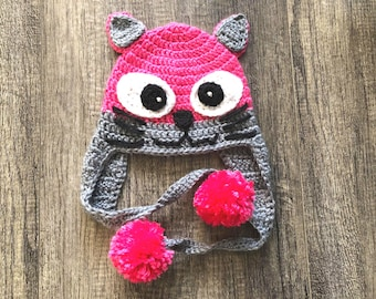Kitten Hat with Earflaps, Toddler Hat, Cat Hat
