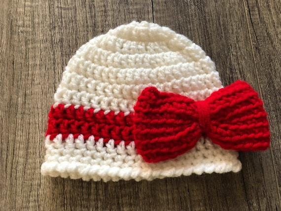Crochet newborn hat winter baby hat white hat with red bow  2cc86e2c623