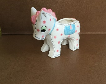 Vintage H F Co Japan Art Pottery Stitched Toy Pony Planter/Vase for Baby Shower white, pink and blue