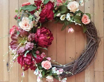 rustic strawberries and succulents grapevine wreath burgundy peony coral and peach door decor - Grapevine Garland Christmas Decorations